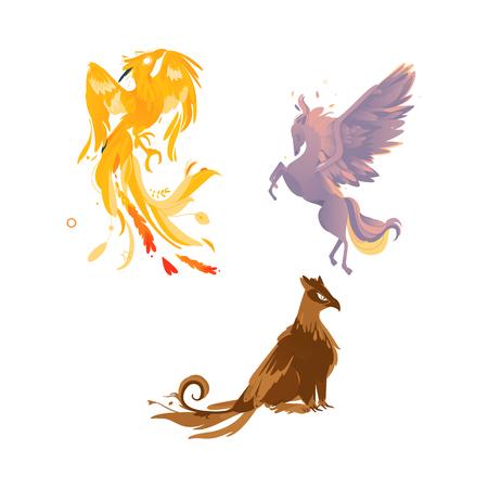 vector platte cartoon mythische dieren instellen. Grootbrengen van pegasus-sprookjesachtig paard met adelaarsvleugels met rijk verenkleed, veren, feniks en griffioen. Geïsoleerde illustratie op een witte achtergrond.