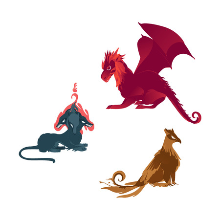vector flat cartoon mythical animals set. Three head dog cerberus, griffin fairy fictional creature with eagle wings, feathering and red dragon. Isolated illustration on a white background.