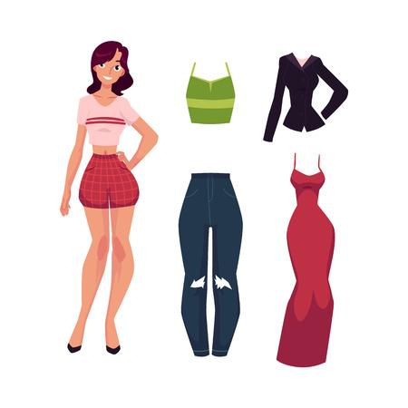 ベクトル フラットかわいい女の子、夏カジュアル服 - 赤いショート パンツとシャツとオフィス ビジネス スーツ、イブニング ドレスの女性。おしゃ  イラスト・ベクター素材