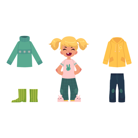 Little girl, child, kid and her fall, autumn wardrobe - sweater, jeans, raincoat and rubber boots, cartoon vector illustration isolated on white background. Cartoon little girl and her autumn clothes Иллюстрация