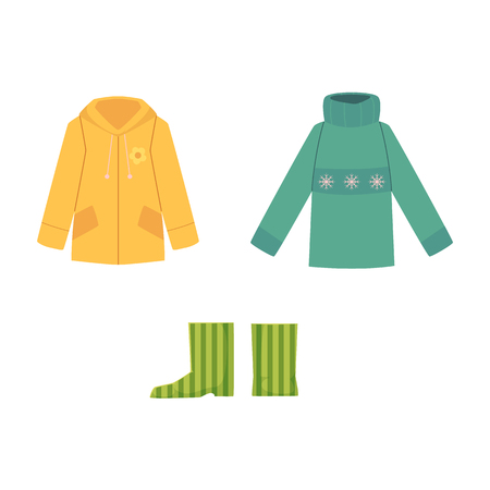 Set of fall, autumn clothes - warm knitted sweater, rain coat and rubber boots, cartoon vector illustration isolated on white background. Cartoon set of sweater, coat and rubber boots, autumn wardrobe