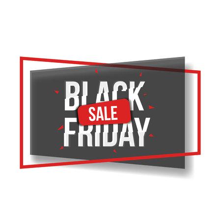 셰이프, 프레임 및 글리치 글꼴, 3 컬러 벡터 일러스트와 함께 검은 금요일 판매 배너. 블랙 프라이데이 판매 배너, 포스터, 글리치 스타일 타이프 스크