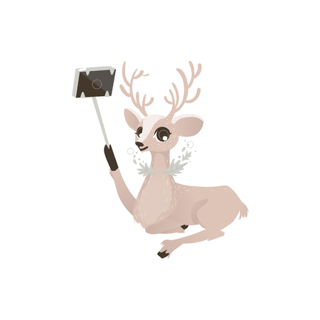 vector flat cartoon cute female christmas reindeer making selfie by selfie stick. Winter holiday deer animal simbol full lenght. Isolated illustration on a white background. Illustration