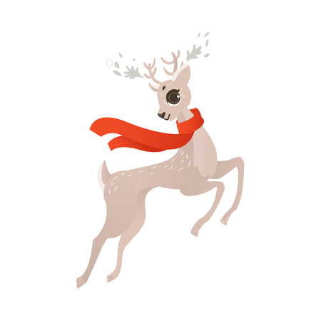 vector flat cartoon cute female christmas reindeer in red scarf. Winter holiday deer animal simbol full lenght. Isolated illustration on a white background.