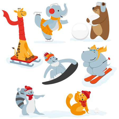 Cute animal characters doing winter activities, having fun, flat cartoon vector illustration isolated on white background. Set of animal characters having fun in winter, playing outside