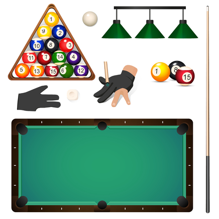 Set of pool, billiard, snooker objects – table, cue, balls, triangle rack, glove, chalk light, vector illustration isolated on white background. Vector set of pool, billiard, snooker game objects