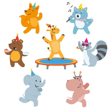 かわいい動物キャラクターの誕生日、祝って、白い背景で隔離のフラット漫画ベクトル図で楽しい時を過します。動物キャラクターの誕生日を祝っ