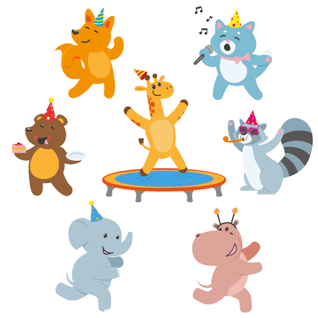Cute animal characters having fun at birthday party, celebrating, flat cartoon vector illustration isolated on white background. Set of animal characters having fun, celebrating birthday, playing Иллюстрация