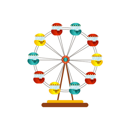 vector flat amusement park concept. Ferris wheel vintage with colored red yellow blue cabs icon. Isolated illustration on a white background.