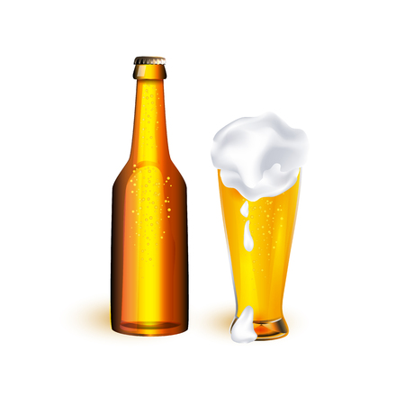 vector realistic full mug and bottle of golden lager cool beer with thick white foam mockup closeup. Ready for your design product packaging. Isolated illustration on a white background. Çizim