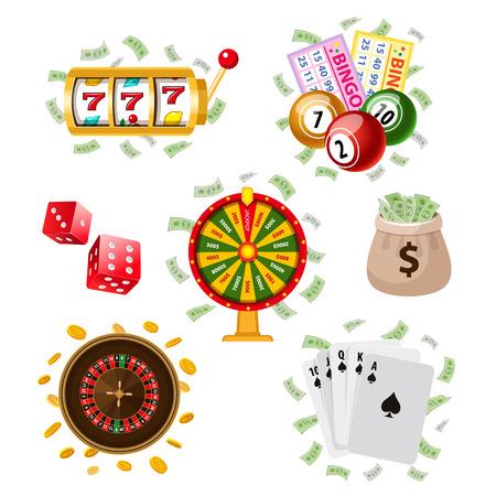 카지노, 도박 기호 - 빙고, 카드 놀이, 재산 휠, 룰렛, 오지에, 돈 가방, 동전, 흰색 배경에 고립 된 벡터 일러스트 레이 션. 편평한 작풍 카지노의 큰 세