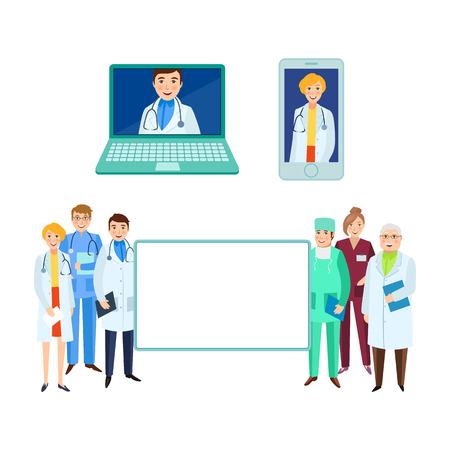 vector flat cartoon adult male, female doctors, head physician in laptop, smartphone nurse holding clipboard, stethoscope smiling set empty white poster. Isolated illustration on a white background.