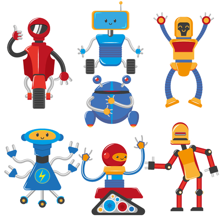 vector flat funny friendly robots set. Humanoid male characters with arms, legs, wheels or rollers crawler tracks and antennas . Isolated illustration on a white background. Illustration