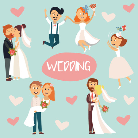 Funny wedding couple, bride and groom, hugging, kissing, celebrating, flat style cartoon vector illustration, sticker set. Funny comic style wedding couple, hugging and kissing, throwing flowers Ilustrace