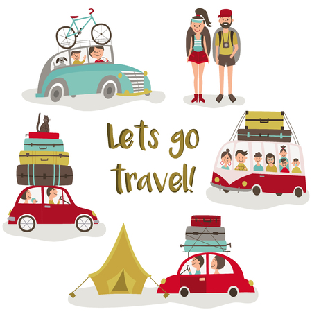 Road trip - bus and cars with baggage, bike, luggage on top, tent and hiking people, flat cartoon vector illustration isolated on white background. Road trip, camping concept, people travelling by car