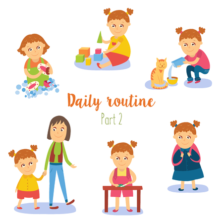 vector flat girl kid doing everyday routine activity set. Kind afwassen, spelen met cubics, wandelen met moeder, kattenvoeding, naar school gaan. Geïsoleerde illustratie op een witte achtergrond.