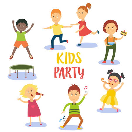Kids, children, boys and girls having fun at birthday party, flat cartoon vector illustration isolated on white background. Kids party - boys and girls sing, dance, eat birthday cake, jump and run Illustration