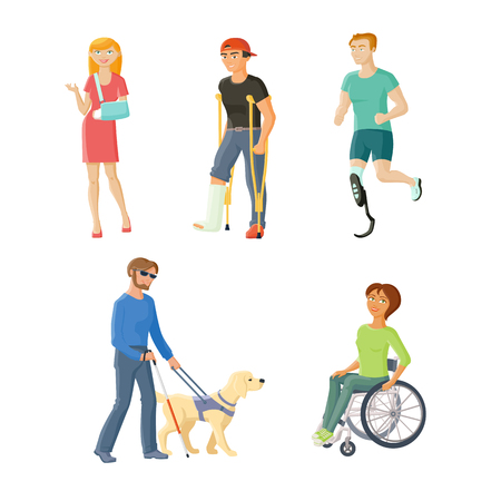 People with injures and disabilities - wheelchair, blindness, broken arm and leg, artificial limb, flat cartoon vector illustration isolated on white background. People with traumas and disabilities Çizim
