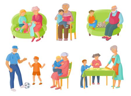 祖父母が孫の料理と時間を過ごす読書、チェス、サッカー、漫画の白い背景の上のベクトル図。祖父母と孫が一緒に時間を過ごす