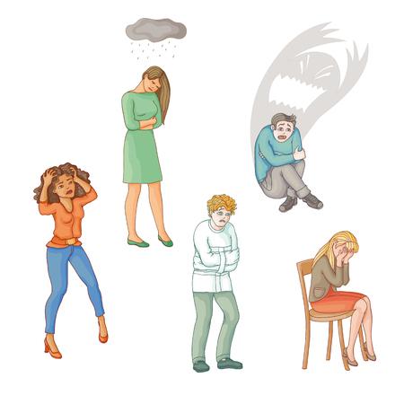 Set van mensen die lijden aan psychische stoornissen, ziekte, verdriet, depressie, platte cartoon vectorillustratie geïsoleerd op een witte achtergrond. Geestesziekte concept, mensen in wanhoop, verdriet, depressie
