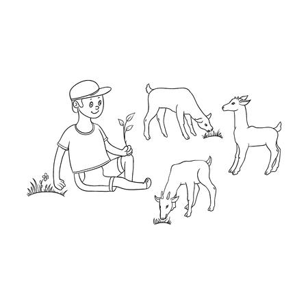 벡터 플랫 만화 십 대 소년 양치기 농부 아이가 줄기를 들고 초원에 앉아 목초지에 염소를 방목. 농장 개념에서 아이들. 흰색 배경에 고립 된 그림입니 일러스트