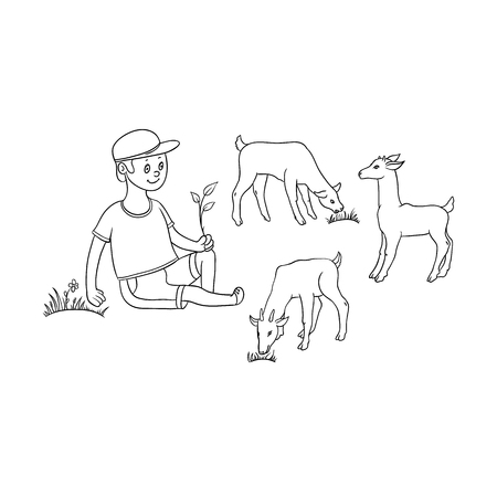 vector flat cartoon teen boy shepherd farmer kid sitting at meadow holding stem, grazing goats on pasture. Children at farm concept. Isolated illustration on a white background.