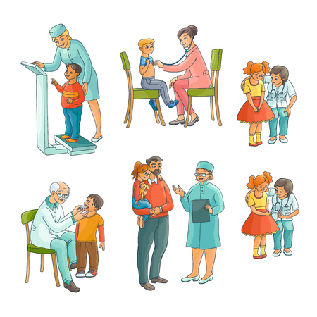 Set of male and female pediatrician, doctor doing medical exam for kids, children,flat cartoon vector illustration isolated on white background. Set of kids, children and doctors, pediatricians