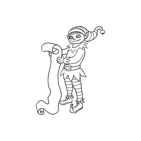 Vector Plano Monocromo Navidad Elfo Niño Bailando O Saltando ...