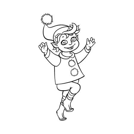 Vector Plano Dibujos Animados Dibujado A Mano Elfo De Navidad Niño ...