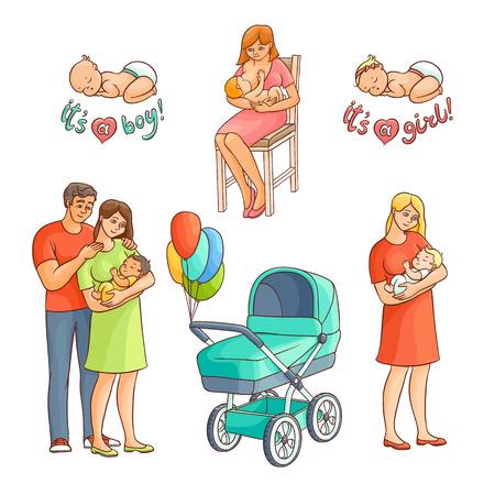 Baby-Symbolsatz der flachen Karikatur des Vektors flacher neugeborener. Paare mit dem Baby, Krankenpflege, stillende Mutter, Spaziergänger mit Luftballonen und Jungen- und Mädchenkleinkinder. Getrennte Abbildung auf einem weißen Hintergrund. Standard-Bild - 88104918