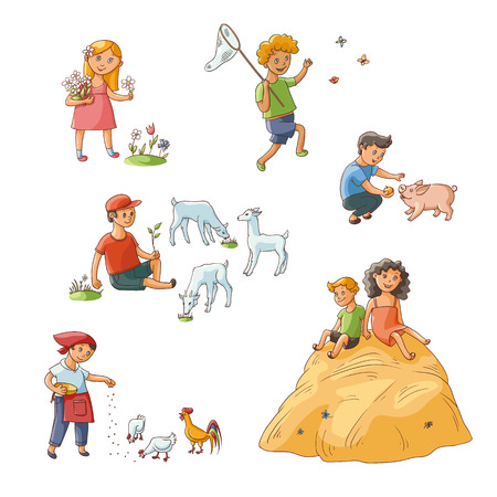 vector flat kids at farm set. boy sitting at meadow grazing goats, girl, boy feeding chickens pig, kids collecting flowers, butterflies, sitting at haystack. Isolated illustration on white background.