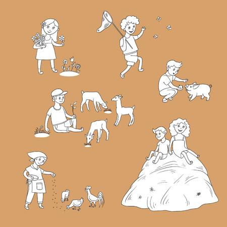 vector platte kinderen op boerderij instellen. jongen zit op weide grazende geiten, meisje, jongen voederen kippen varken, kinderen verzamelen bloemen, vlinders, zittend op hooiberg. Geïsoleerde illustratie op witte achtergrond.