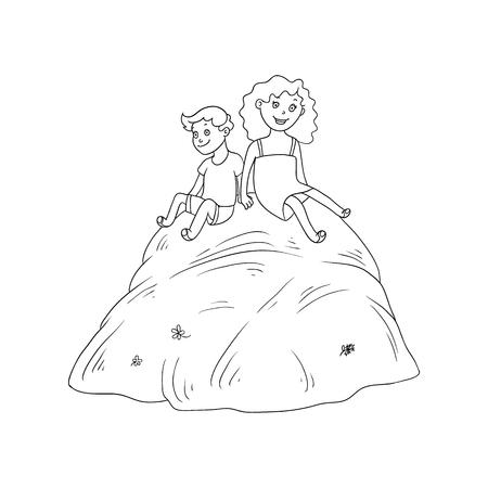 Bambini adolescenti del fumetto piano di vettore - ragazzo e ragazza che si siedono alla grande pila di fieno all'estate. Ragazzi al concetto di fattoria. Illustrazione isolato su uno sfondo bianco. Archivio Fotografico - 88104919