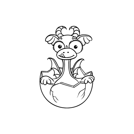 vector flat cartoon funny dragon kid, baby with horns and wings hatching from egg. Isolated illustration on a white background. Fairy mysterious cute creature character for coloring book design Ilustracja