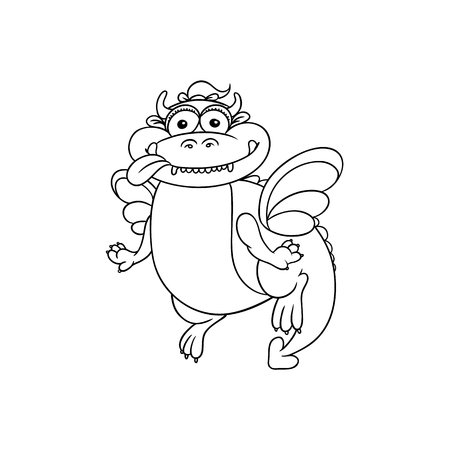 vector flat cartoon funny adult fat dragon with horns and wings sticking out tongue. Isolated illustration on a white background. Fairy mysterious cute creature character for coloring book design