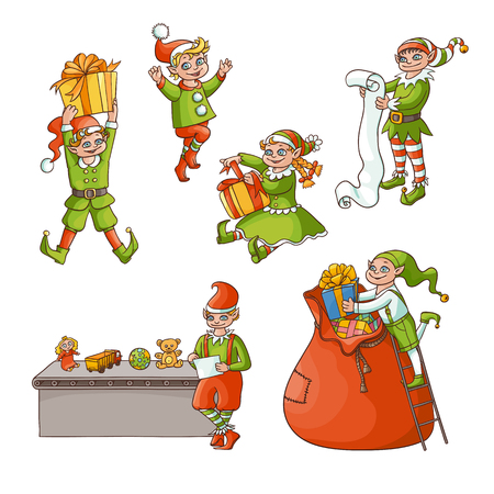 vector flat cartoon hand drawn christmas elves scenes set. boys, girls characters in santa hats, stockings doing routine holiday job with presents. Isolated illustration on a white background Иллюстрация
