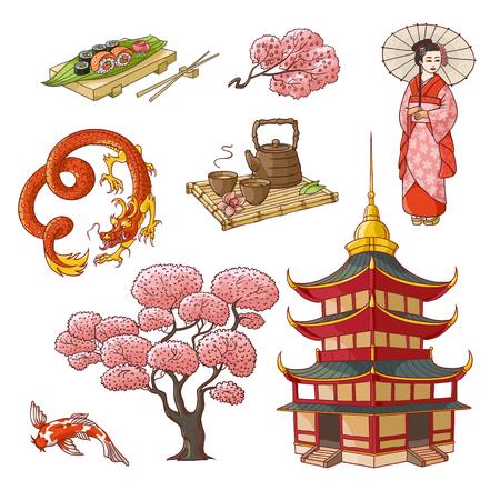 Set of Japanese culture elements - geisha, sakura, koi, sushi, pagoda, tea, dragon, hand drawn vector illustration isolated on white background. Set of Japanese culture symbols, icons, elements