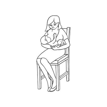 vector flat monochrome adult cute woman girl in dress sitting at chair with infant newborn baby toddler on knees breast feeding smiling. Isolated illustration on white background for coloing book