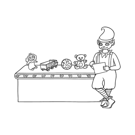 vector flat monochrome christmas elf boy standing near conveyor with holiday present toys. Fairy holiday character in christmas santa hat. Isolated illustration on a white background for coloring book Фото со стока