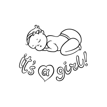 vector flat monochrome style newborn cute infant baby boy toddler in diaper or nappy sleeping lying on his back, its a girl inscription. Isolated illustration on a white background for coloring book Zdjęcie Seryjne