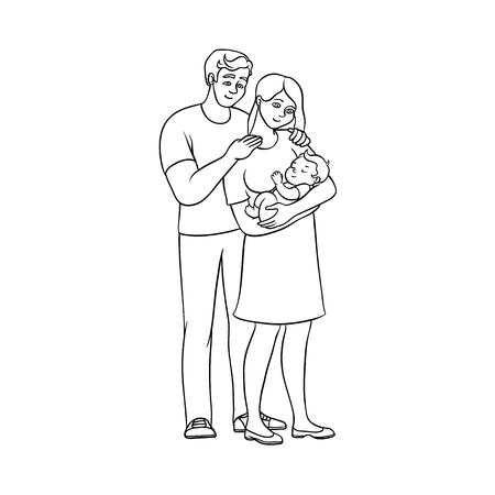Vector flache einfarbige erwachsene Paare und Säuglingsbaby. Lokalisierte Illustration auf einem weißen Hintergrund. Flache Familiencharaktere. Erwachsener lächelnder Mann, nette Frau im Kleid, neugeborenes Baby für Malbuchdesign Standard-Bild - 88104975