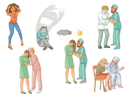 Het helpen van mensen met geestelijke wanorde, kalmerende, kalmerende, fysiologische, psychiatrische, medische hulp, steun, vlakke beeldverhaal vectorillustratie die op witte achtergrond wordt geïsoleerd. Geestelijke stoornissen behandelen