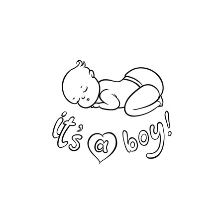 vector flat monochrome style newborn cute infant baby boy toddler in diaper or nappy sleeping lying on his back, its a boy inscription. Isolated illustration on a white background for coloring book Stock Photo