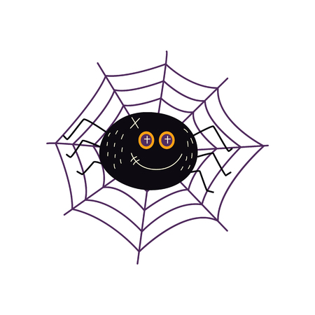vector flat cartoon halloween traditional autumn holiday symbol spooky stylized funny magic witch black spider in net . Isolated illustration on a white background.