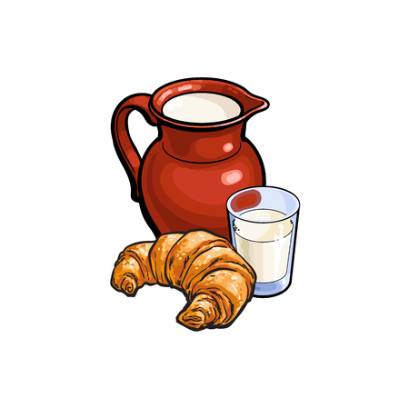 vector sketch cartoon glass of milk and ceramic pitcher jug, crock and french croissant set. Isolated illustration on a white background. Healthy food dairy products, natural dieting concept