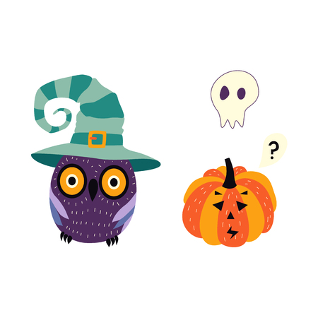 vector flat cartoon halloween autumn holiday symbols set. Pumpkin or Jack OLanterns, owl in witch hat and ghost in shape of skull. Isolated illustration on a white background.