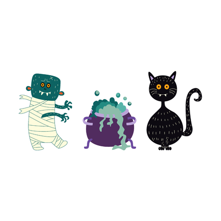 vector flat cartoon halloween autumn holiday symbols set. Black funny cat, zombie and witch cauldron, pot or bowl with magic brew. Isolated illustration on a white background.