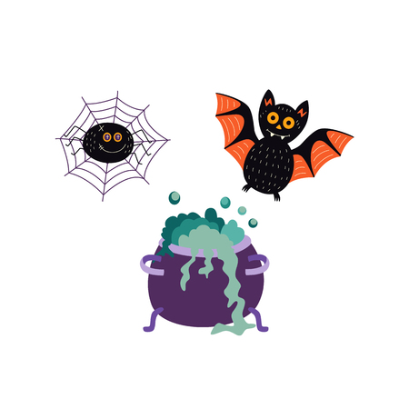vector flat cartoon halloween autumn holiday symbols set. Black funny bat, spider in net and witch boiling pot or cauldron with magic brew. Isolated illustration on a white background. Illustration