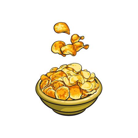 벡터 스케치 만화 노란색 감자 세라믹 접시에 떨어지는 칩 피리. 흰색 배경에 고립 된 그림입니다. 파삭 파삭하고 사각 사각 한 패스트 푸드