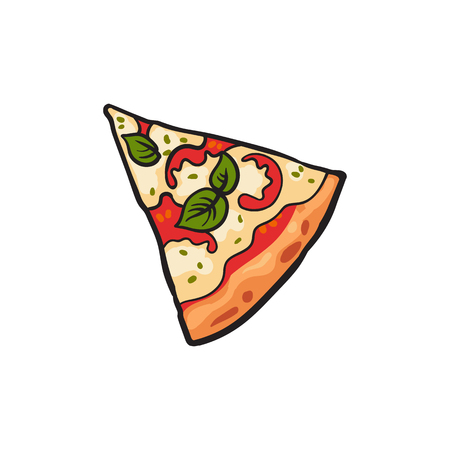 Vector flat margarita pizza slice with pepper, tomatos and cheese . Fast food cartoon isolated illustration on a white background. Italian food icon. Restaurant, cafes advertising object